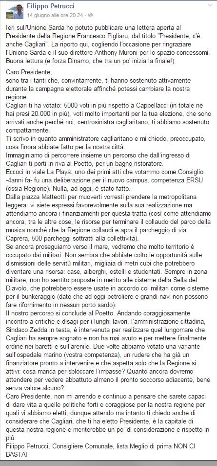 UNIONE SARDA_LETTERA PIGLIARU_POST_FILIPPO_PETRUCCI_15_GIU_2015